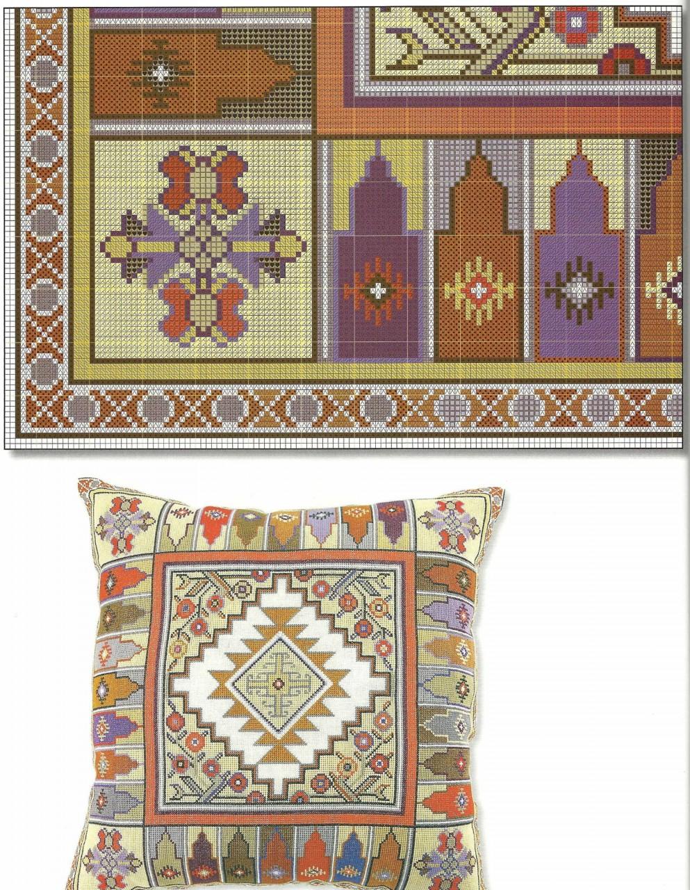 Подушки в восточном стиле - вышивка крестом схема 3