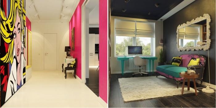 Всплеск эмоций и буйство красок: Умопомрачительные апартаменты в стиле поп-арт