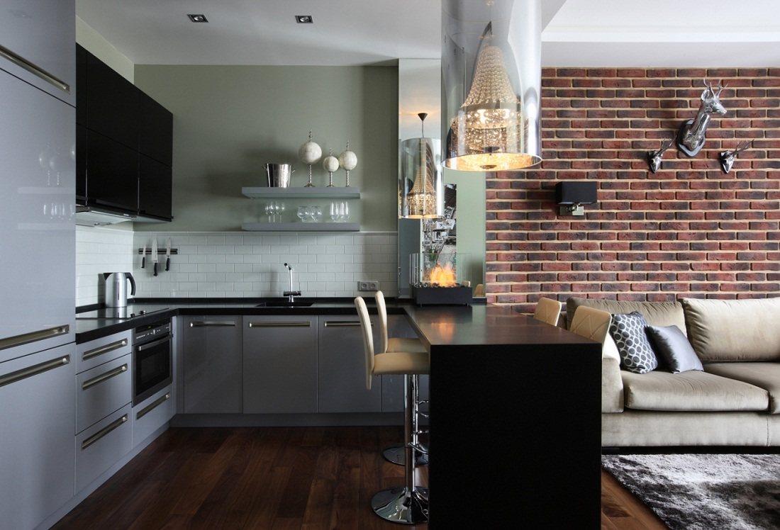 Дизайн комнаты с кирпичной стеной