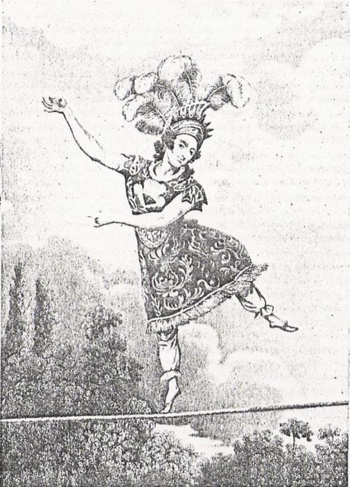 Мадам Саки - виртуозная канатоходка, популярная в XIX веке.   Фото: lichnosti.net.