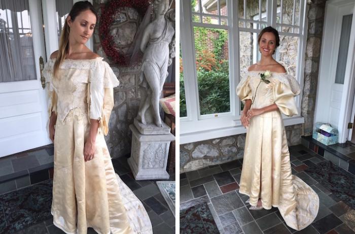Платье до и после изменений. Эбигейл Кингстон станет 11-й невестой, которая наденет старинное платье.