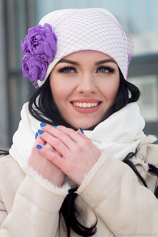 Шапка с цветами из шифона и снуд из трикотажа, Шапки, Уфа, Фото №1