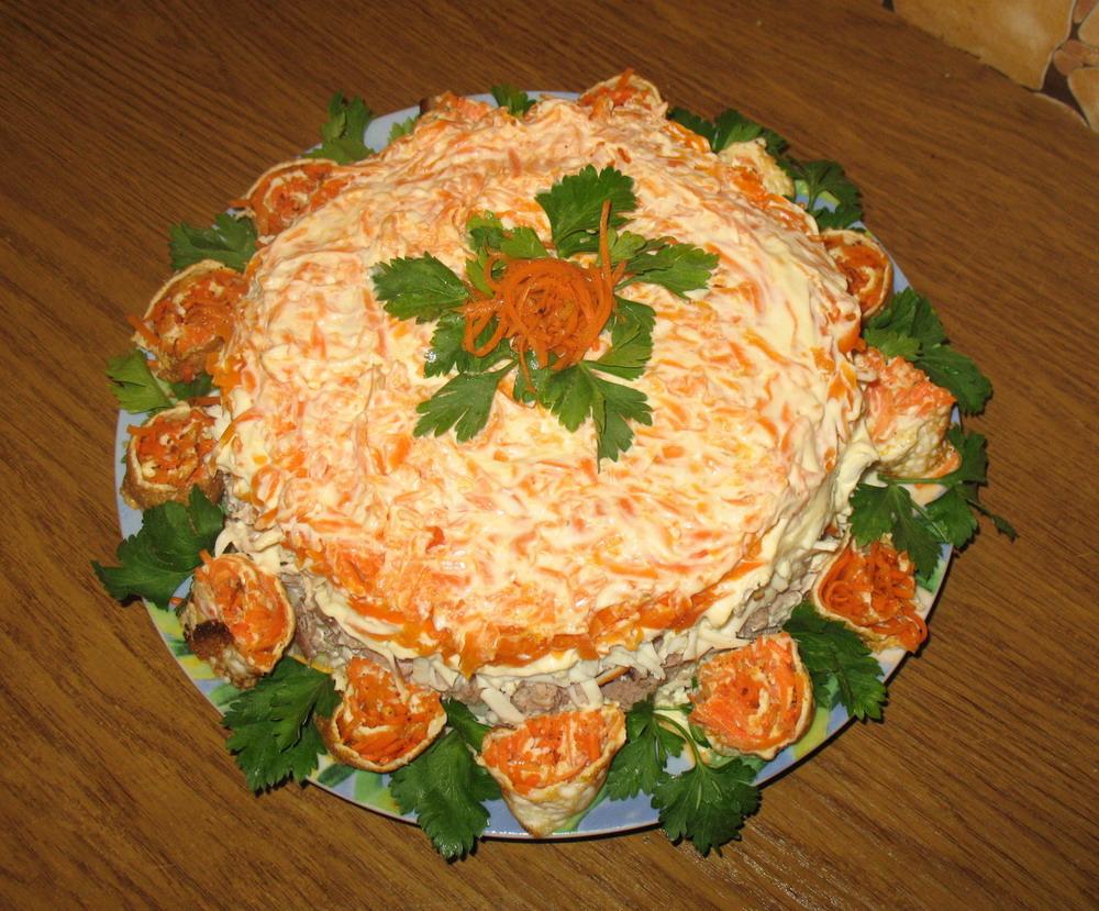 Мясной салат на праздничный стол рецепты простые и вкусные