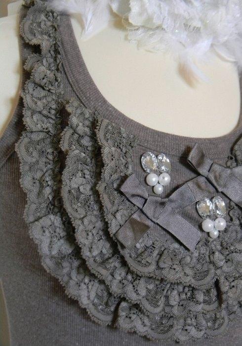 Украшаем майки и футболки органзой и кружевом - 3 варианта