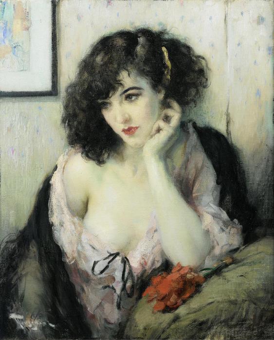 В шумном платье муаровом, по аллее олуненной вы проходите морево..художник Fernand Toussaint