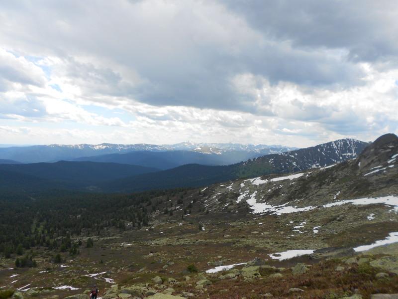 Вид с хребта Ергаки, горы, лето, природа, снег, снег летом
