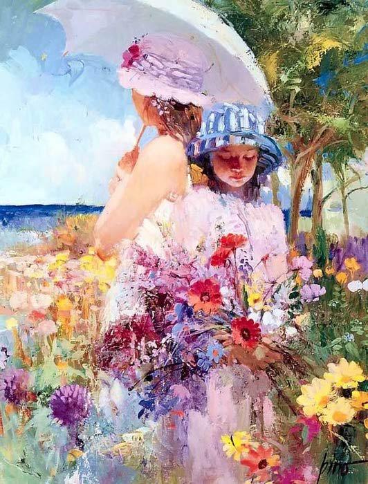 Яркое солнце и нежные цветы... и женщины, прекрасные, как цветы  -  радостные картины Пино Даени