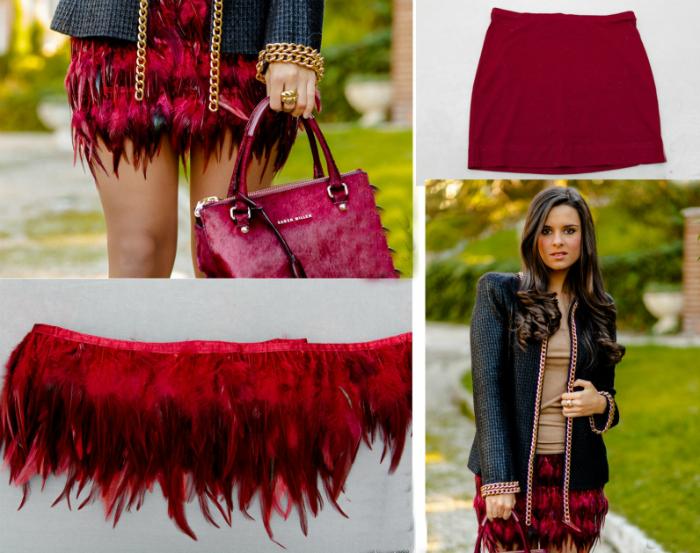 Модная юбка с перьями.