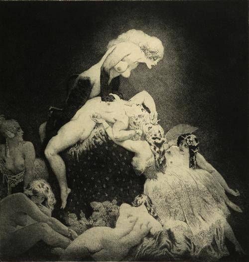 Прелестные нимфы, козлоногие обольстители и демоны в картинах Нормана Линдсея 4