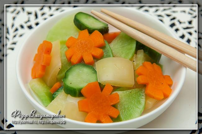 Быстрые маринованные овощи и Ныок чам (Nuok Cham) - вьетнамский соус дип