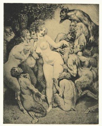 Прелестные нимфы, козлоногие обольстители и демоны в картинах Нормана Линдсея 50