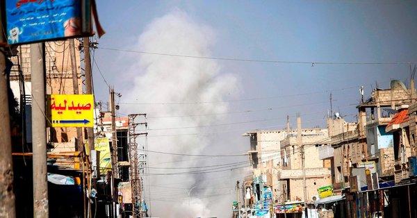 Первые ракетные удары в населённом пункте Аль-Хирак, 22 июня 2018 года
