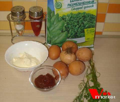 Ингредиенты для омлета со шпинатом