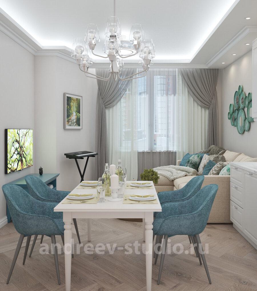 3Д фотография из проекта квартиры в современной классике. Дизайнеры интерьеров Андрей и Екатерина Андреевы.