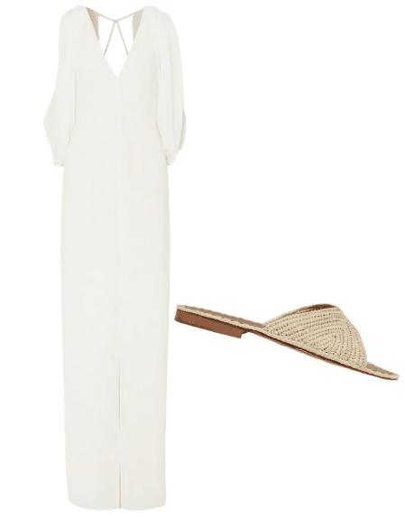 Белое платье и бежевые шлепанцы