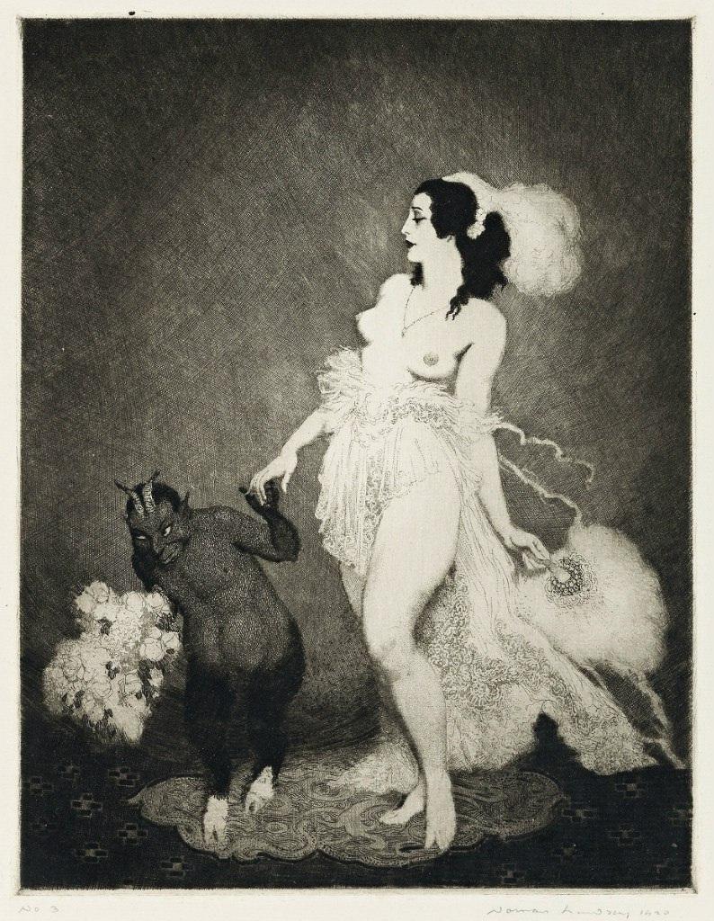 Прелестные нимфы, козлоногие обольстители и демоны в картинах Нормана Линдсея 51