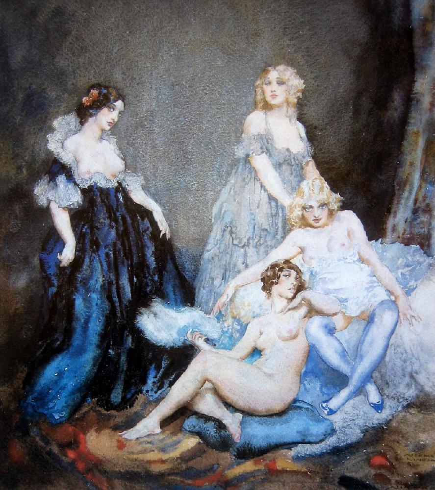 Прелестные нимфы, козлоногие обольстители и демоны в картинах Нормана Линдсея 73