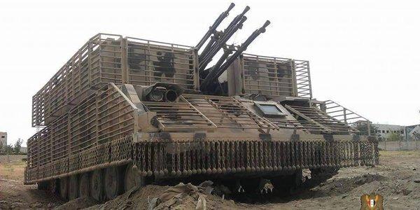 """ЗСУ """"Шилка"""" сирийской правительственной армии с усиленным бронированием и противокумулятивными экранами."""