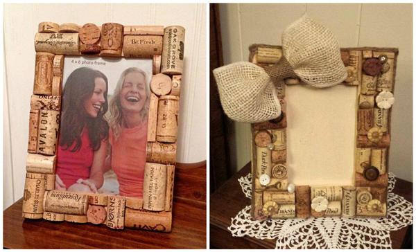 Декорировать рамку для фото или картины корковыми пробками тоже несложно фото сайта ru.pinterest.com