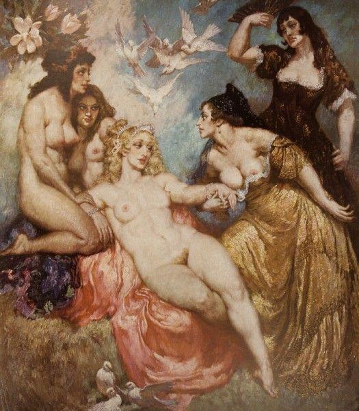 Прелестные нимфы, козлоногие обольстители и демоны в картинах Нормана Линдсея 36