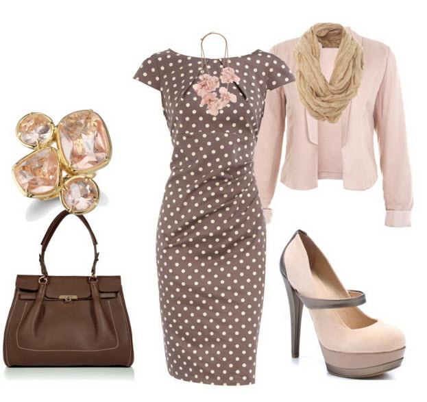 Платье в горошек для офиса