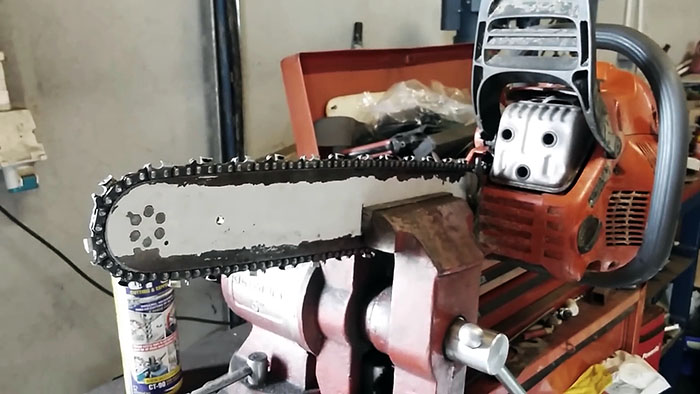 Заточка цепи бензопилы с помощью дрели
