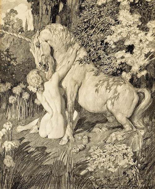 Прелестные нимфы, козлоногие обольстители и демоны в картинах Нормана Линдсея 55