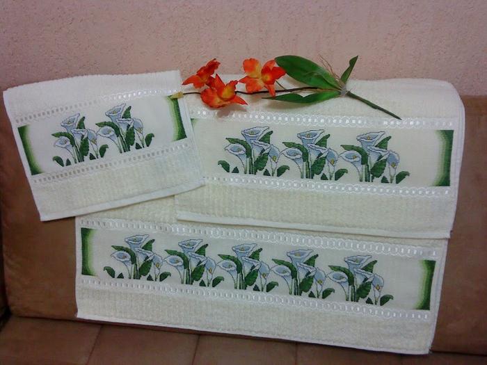 Схемы вышивки для полотенца. КАЛЛЫ и другие цветы