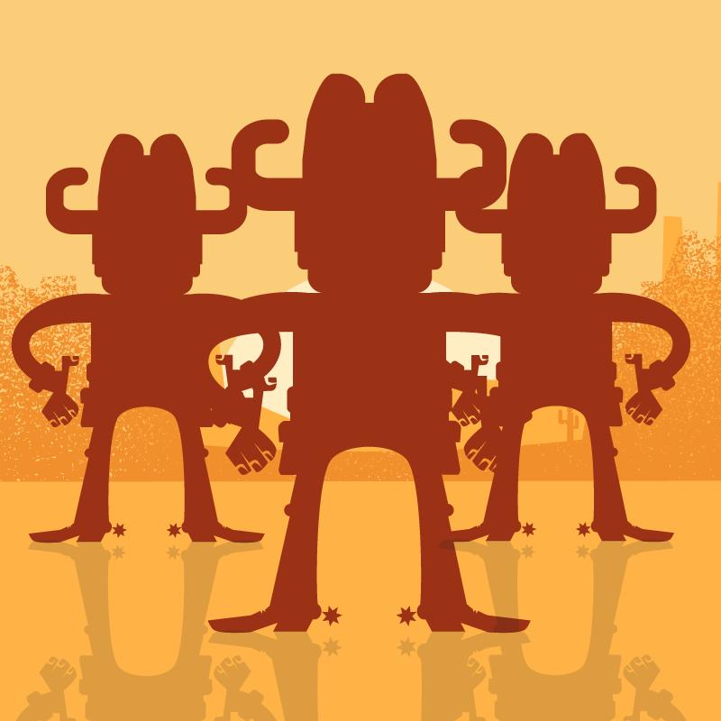 Анекдот про трёх здоровых ковбоев ималенького пьяного мужичка
