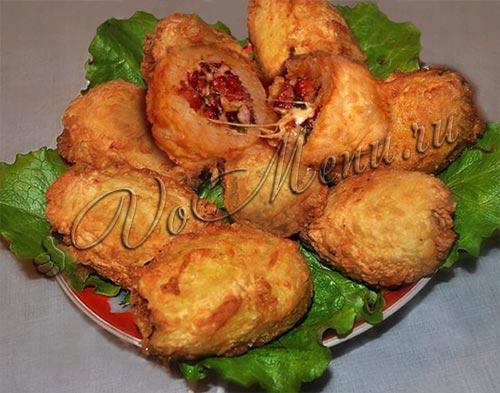 Фаршированная картошка с ветчиной и сыром