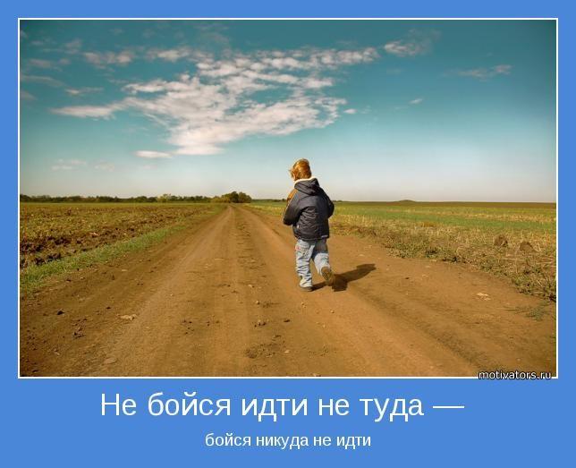 Не бойся идти не туда —  бойся никуда не идти