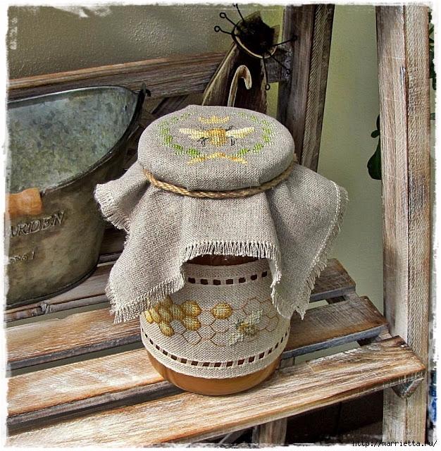 Красивая вышивка для украшения баночек с медом