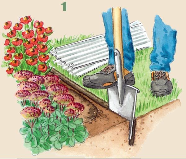 1. Увлажните почву и выкопайте вдоль цветника траншею. Теперь тщательно удалите все выступающие за обозначенную границу посадки корни растений.