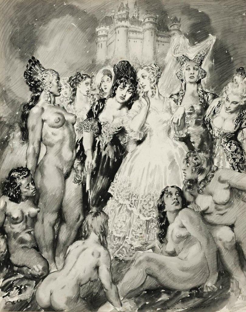 Прелестные нимфы, козлоногие обольстители и демоны в картинах Нормана Линдсея 74