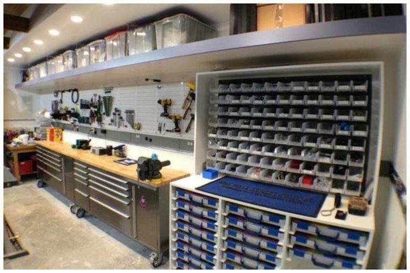 12. Просторный гараж специально для перфекциониста гараж, идеальный, инструменты, мастерская, перфекционизм, порядок