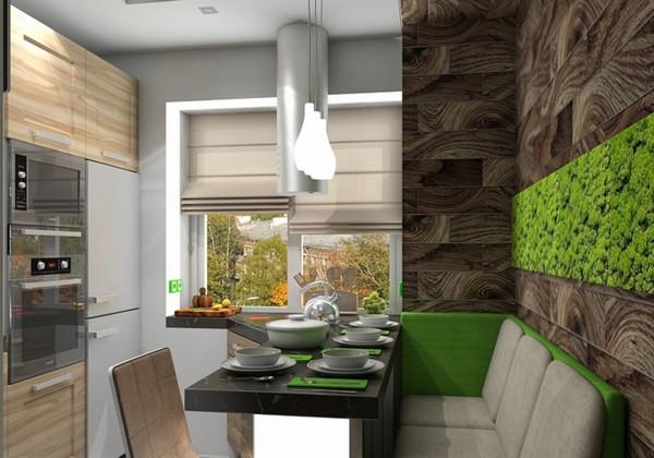 Минималистическая кухня в зеленом цвете