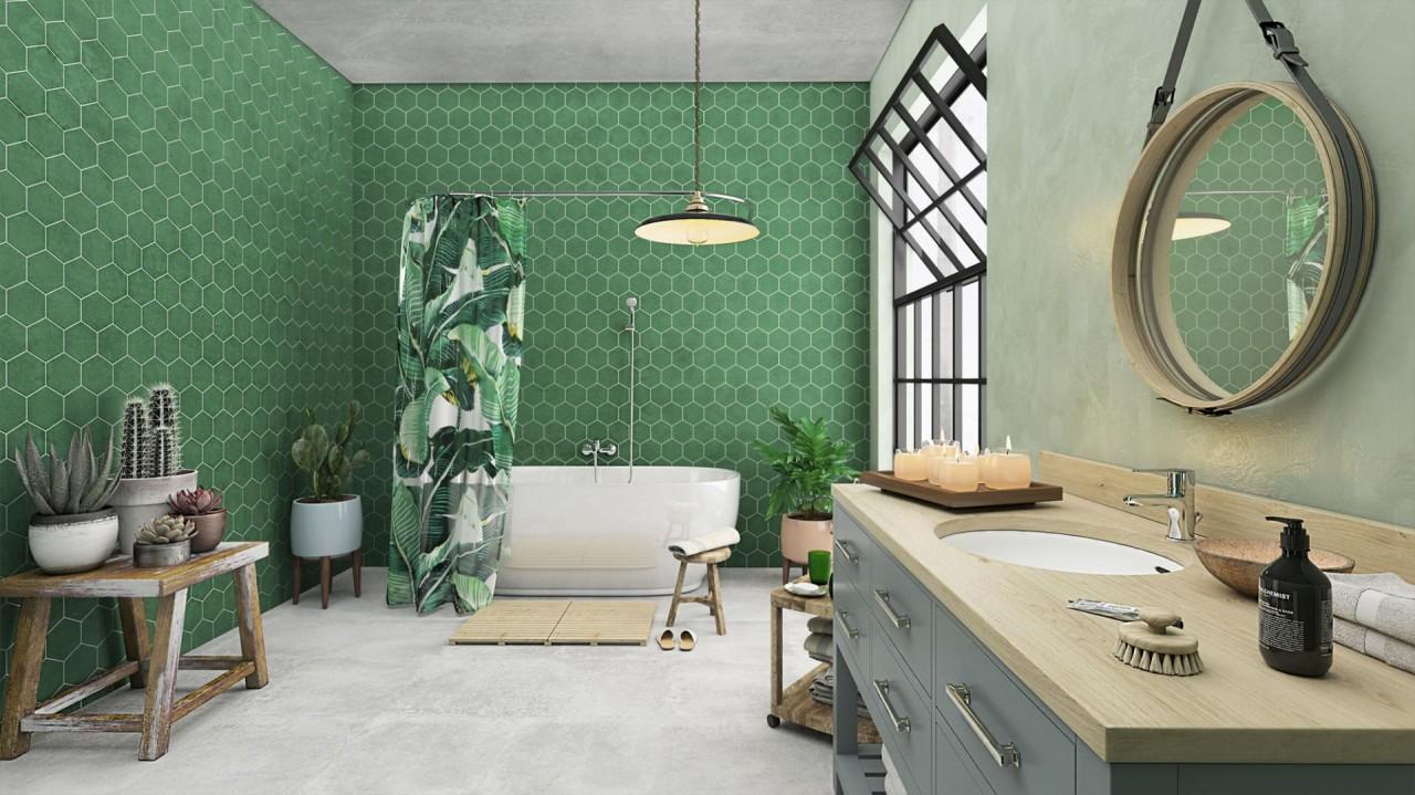Цвет в ванной: ставка на зелень
