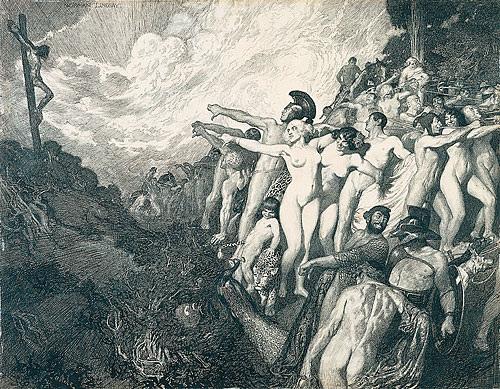 Прелестные нимфы, козлоногие обольстители и демоны в картинах Нормана Линдсея 26