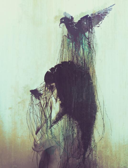 Птица. Автор работ: фото-иллюстратор Лесли Энн О'Делл (Leslie Ann O'Dell).
