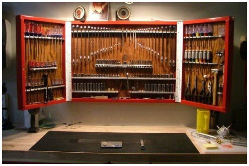 3. Стена перфекциониста – компактно, ровно и сразу всё охватывается взглядом гараж, идеальный, инструменты, мастерская, перфекционизм, порядок