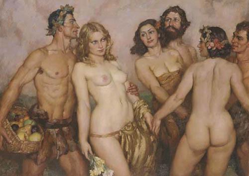 Прелестные нимфы, козлоногие обольстители и демоны в картинах Нормана Линдсея 61
