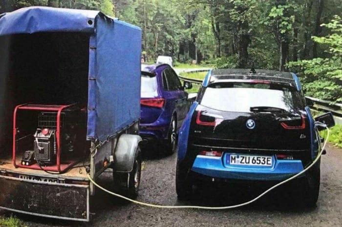 Просто заправка электромобиля с помощью дизельного генератора