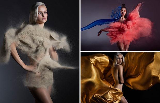 Одежда моделей из песка, воды, огня и ветра.
