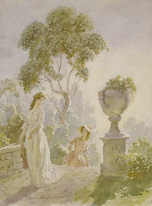 Прелестные нимфы, козлоногие обольстители и демоны в картинах Нормана Линдсея 58