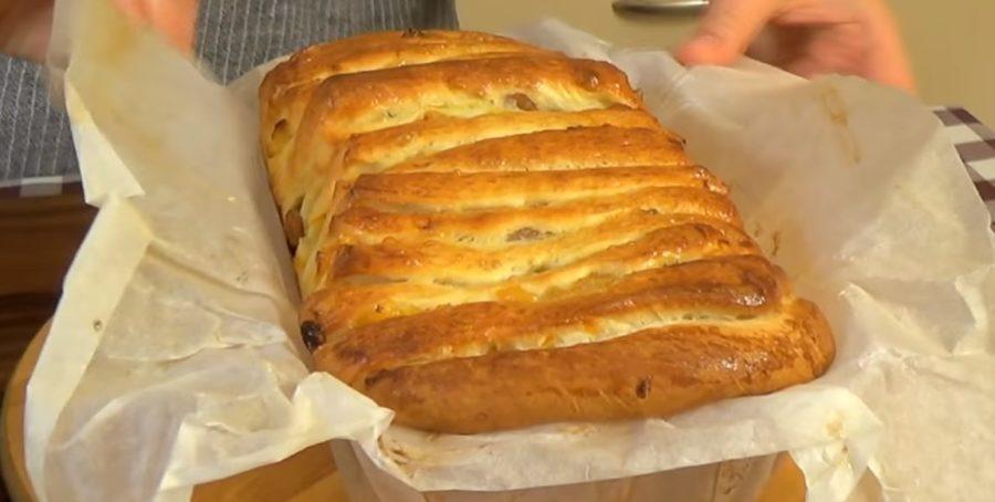 """Восхитительный хлеб """"Гармошка"""" с сухофруктами"""