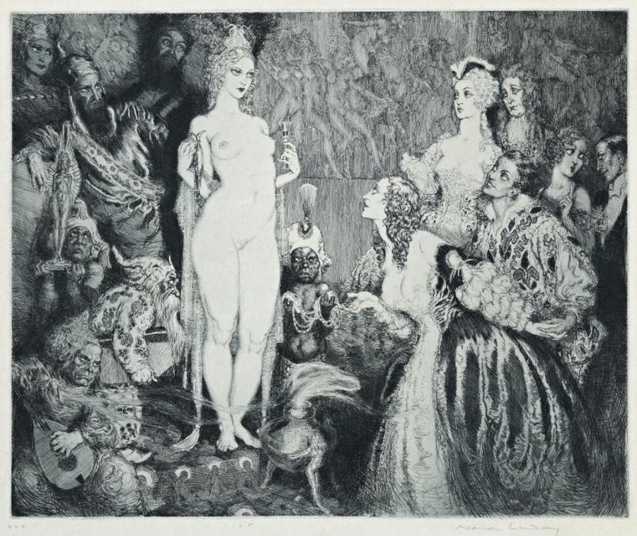 Прелестные нимфы, козлоногие обольстители и демоны в картинах Нормана Линдсея 29
