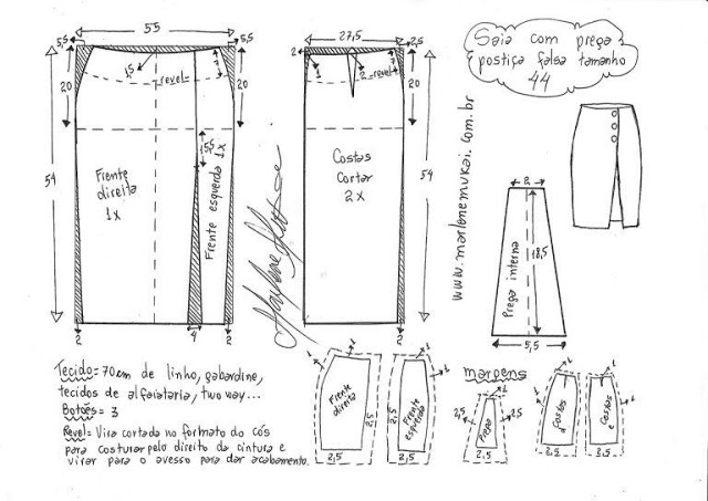 Выкройка прямой модной юбки