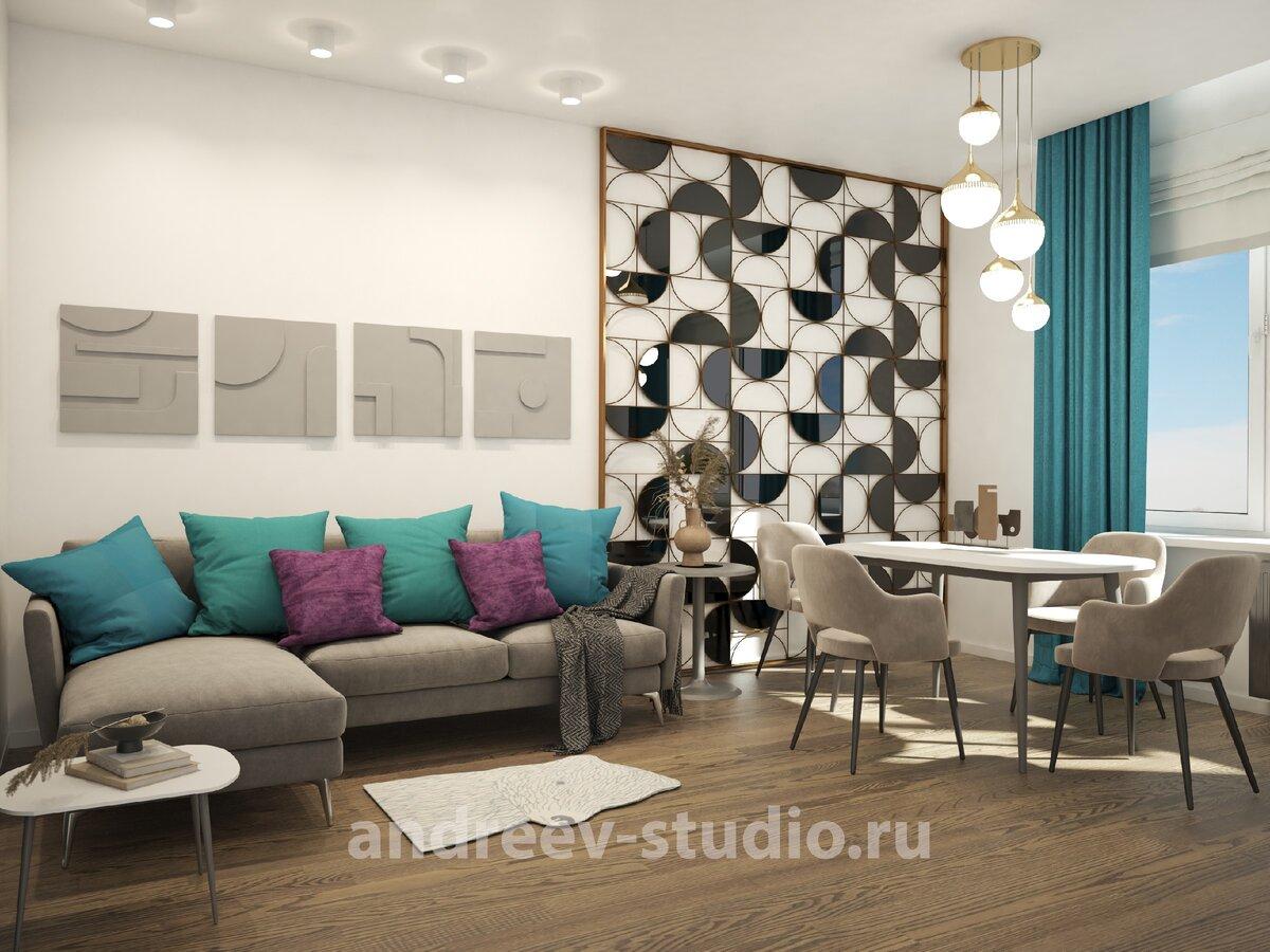 3Д фотография из проекта трёхкомнатной квартиры в стиле контемпорари. Дизайнеры интерьеров Андрей и Екатерина Андреевы.