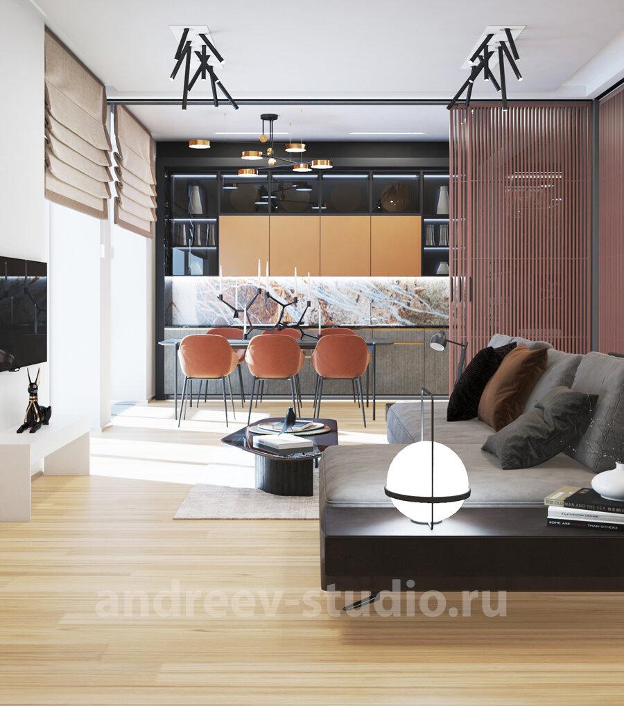 3Д фотография из проекта квартиры-студии. Дизайнеры интерьеров Андрей и Екатерина Андреевы.