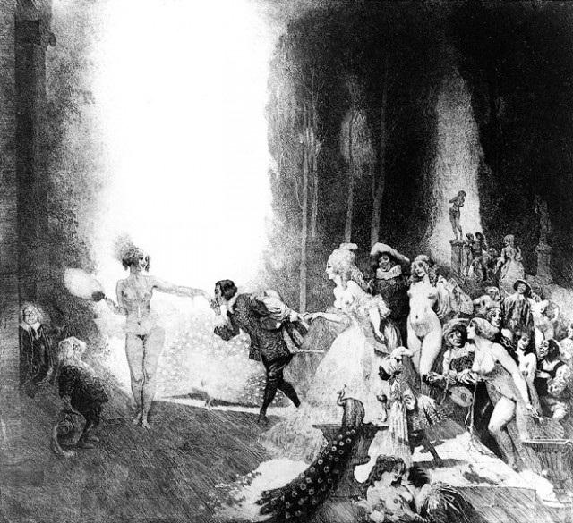 Прелестные нимфы, козлоногие обольстители и демоны в картинах Нормана Линдсея 47